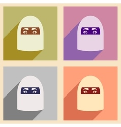 Concept flat icons with long shadow arab woman vector