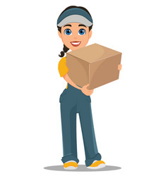 courier woman standing with parcel professional vector image vector image