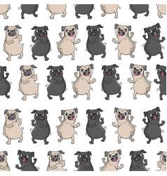 dancing pugs seamless pattern vector image