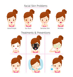 Girl with problems on face vector