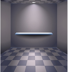 Grey room with shelf vector image