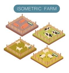 Isometric farm animals set vector image vector image