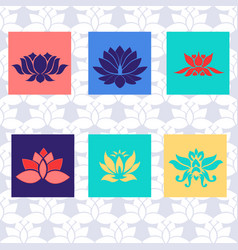 Lotus icon of six types isolated sign symbol vector