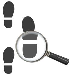 Magnifying glass increases footprint of man vector