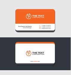 orange business card with lightning logo vector image
