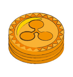 Ripple coin cryptocurrency stack icon vector