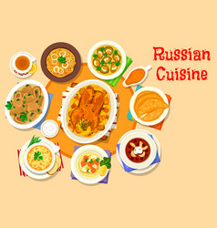 Russian cuisine delicious lunch icon design vector