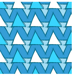 seamless pattern with hand drawn blue triangles vector image vector image