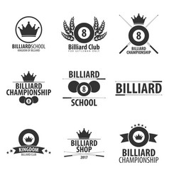set of logos for billiard school club or shop vector image vector image
