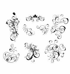 set of Victorian design elements vector image