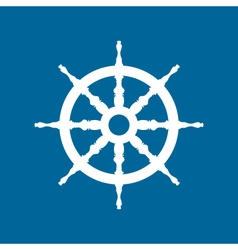 Ship wheel isolated on blue background vector