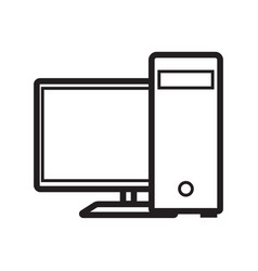 Thin line computer icon vector