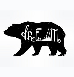Vintage bear with slogan vector