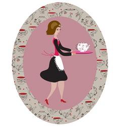 vintage waitress vector image