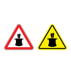 Warning sign of attention magic tricks Hazard vector image