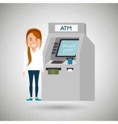 Woman atm money credit vector