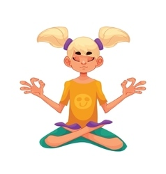 Blond haired girl doing yoga vector