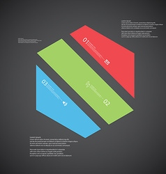 Hexagon template consists of three color parts on vector