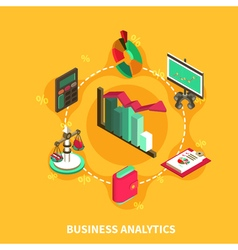 Business analytics isometric round composition vector
