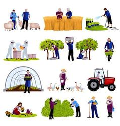 Farmers gardeners flat icons collection vector