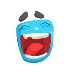 Laughing blue emoji cartoon square funny emotional vector