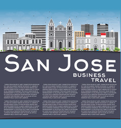 San jose skyline with gray buildings blue sky vector