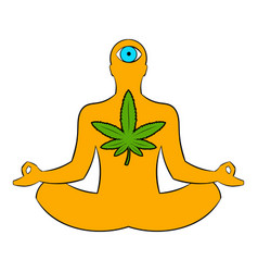 Man in lotus position with marijuana leaf icon vector