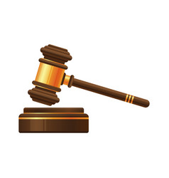 Judge gavel or auction hammer icon vector