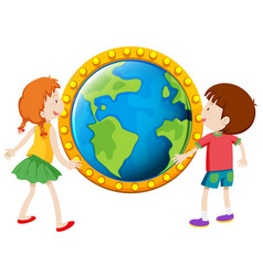 Boy and girl looking at globe vector