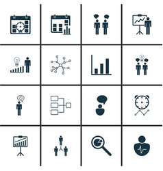 Set of 16 management icons includes group vector