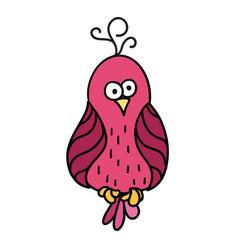 Cute cartoon pink bird with black contour parrot vector