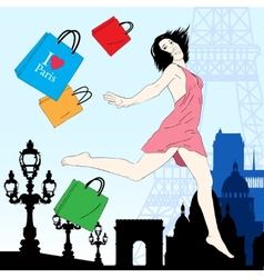 Happy shopping in paris vector