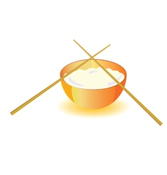 Japanese rice bowl with sticks vector