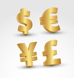 3D Golden currency signs vector image vector image
