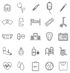 Hospital line icons on white background vector