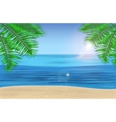 The sea palm trees and tropical beach under blue vector