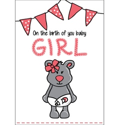 Cute baby bear card vector