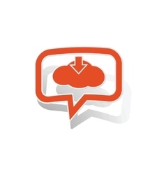 Cloud download message sticker orange vector