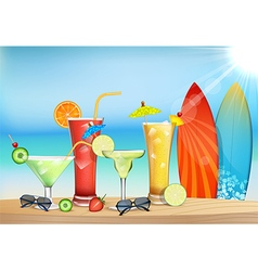 The freshness of the juice at the beach vector image