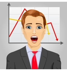 Emotional crying businessman in economic crisis vector