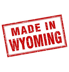 Wyoming red square grunge made in stamp vector
