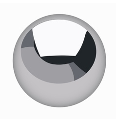 Black metallic sphere steel ball isolated vector