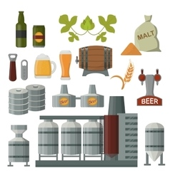 Beer production set vector
