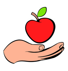 A hand giving a red apple icon icon cartoon vector