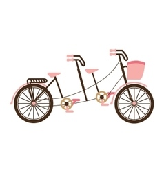 Bicycle tandem love isolated icon vector