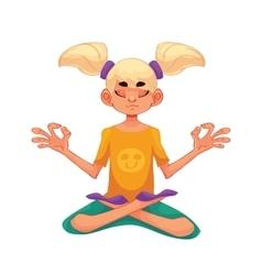 Blond haired girl doing yoga vector