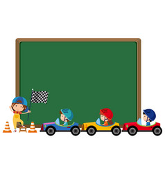 Border template with kids driving toy cars vector