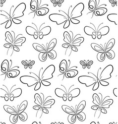 butterfly set pattern black on white simbols vector image