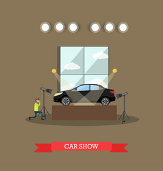 Car show concept in flat style vector