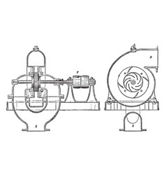 Centrifugal pump vintage vector